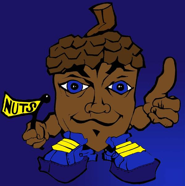 Acorn man thumbs up holding nuts sign