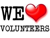 text saying we love volunteers